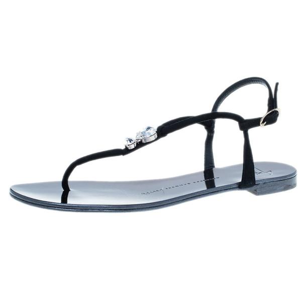 Giuseppe Zanotti Black Suede Jeweled Thong Flat Sandals Size 37