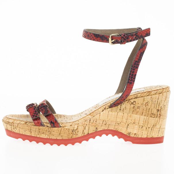Stella McCartney Snake Embossed Linda Cork Wedge Sandals Size 39