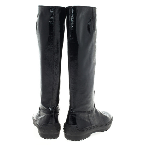 Tod's Black Patent Knee Length Boots Size 38.5