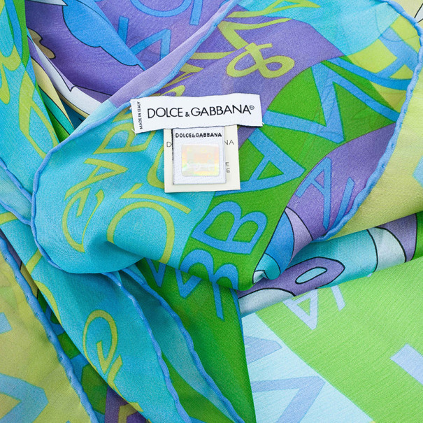 Dolce and Gabbana Blue Floral Print Square Scarf