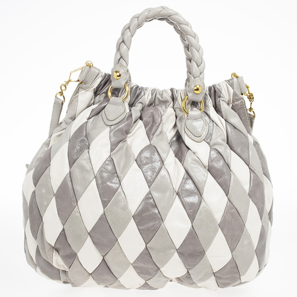Miu Miu Large Harlequin Leather Tote