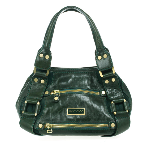 Jimmy Choo Green Patent Leather and Suede Mahala Bag