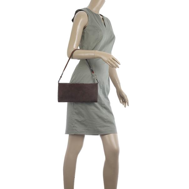 Salvatore Ferragamo Suede Stitch Shoulder Bag