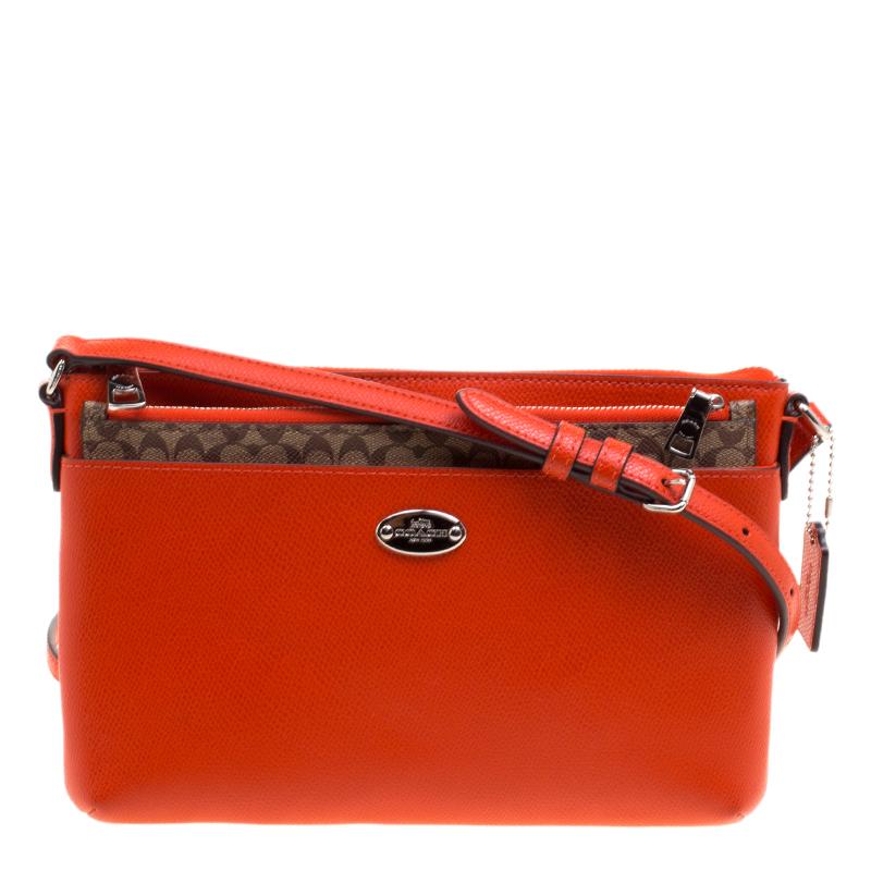 Coach Orange Leather East West Pop Up Pouch Crossbody Bag Nextprev Prevnext