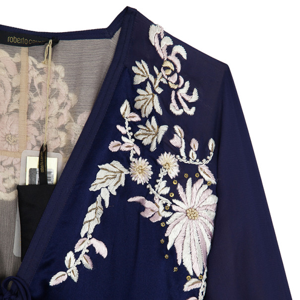 Roberto Cavalli Silk Embroidered Kaftan Top S