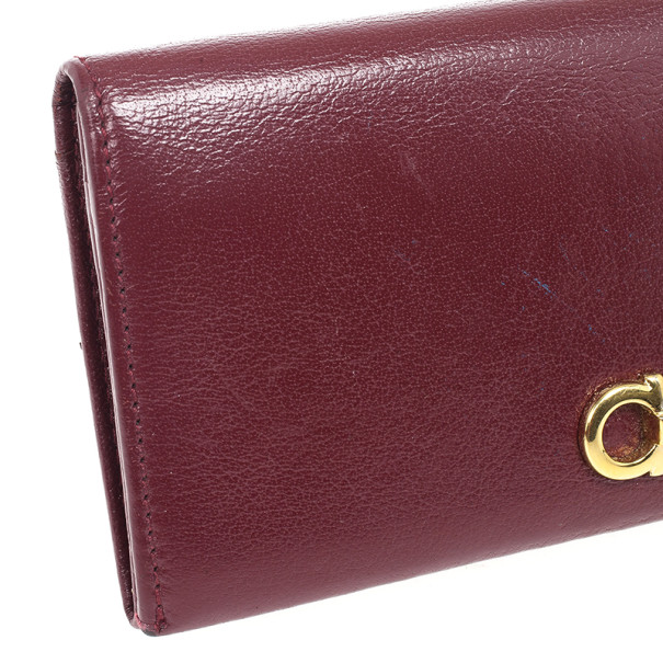 Salvatore Ferragamo Gancini Bordeaux Continental Wallet