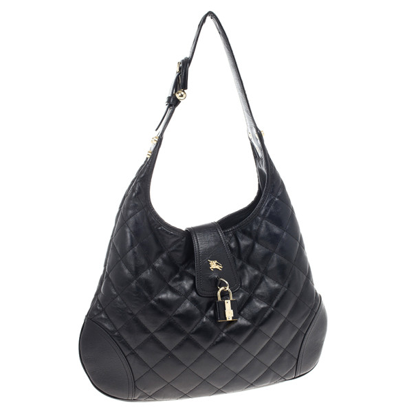 Burberry Black Quilted Leather 'Brooke' Hobo