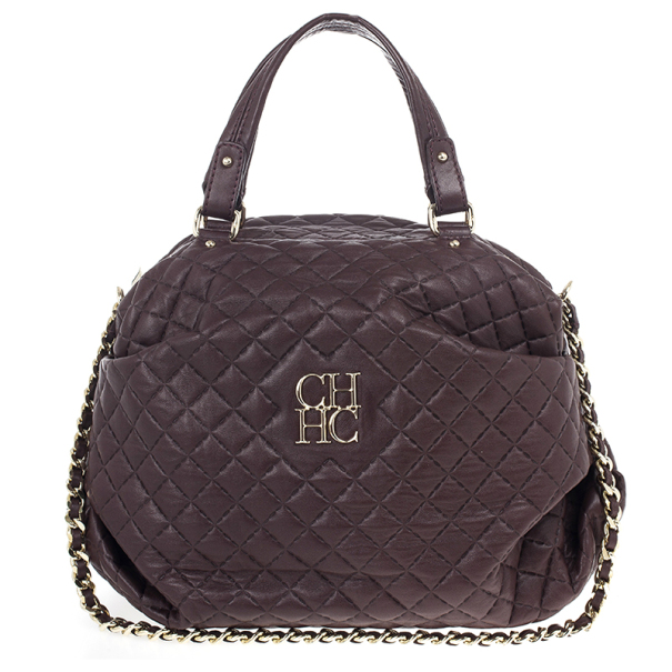 Carolina Herrera Brown Lambskin Quilted Stitching Bowling Bag