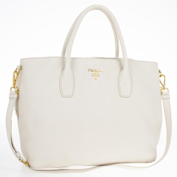 Prada Talco Vitello Daino Leather Shopping Tote Bag