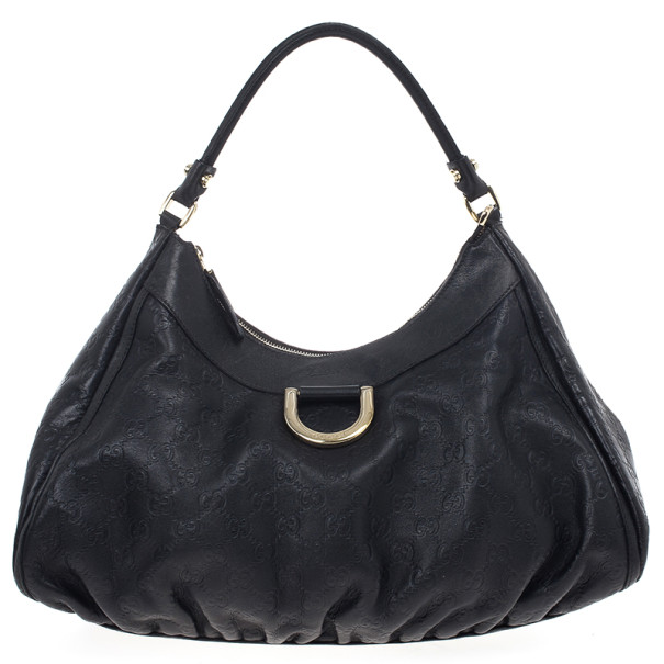 Gucci Black Guccissima Leather D Ring Large Hobo Bag