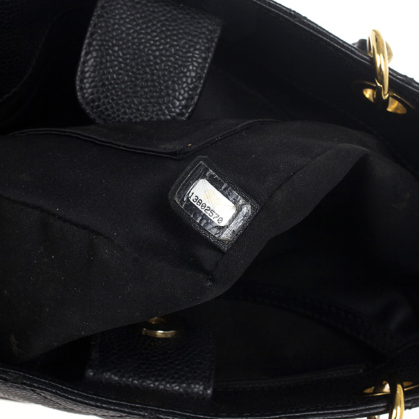 Chanel Black Quilted Caviar Petite Shopping Tote