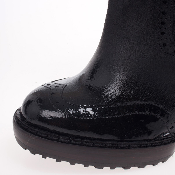 McQ by Alexander McQueen Black Leather Brogue Platform Ankle Boots Size 38
