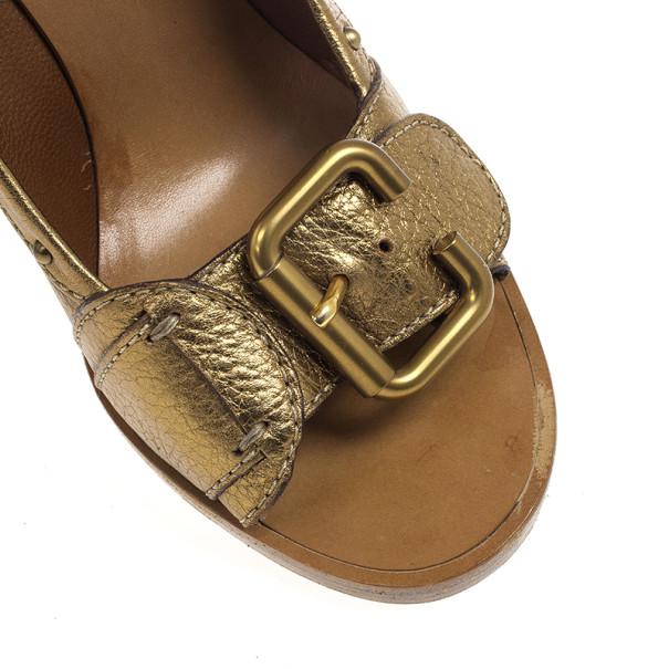 Chloe Gold Leather Buckle Open Toe Pumps Size 38