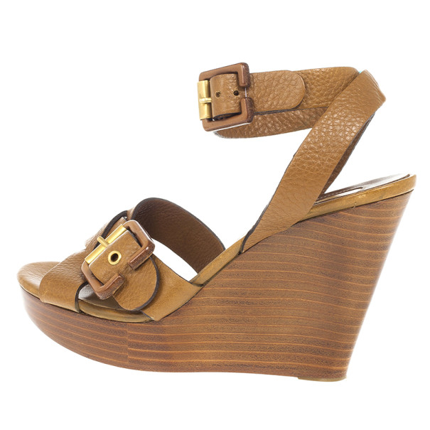 Chloe Brown Leather Ankle Strap Wooden Wedges Size 38
