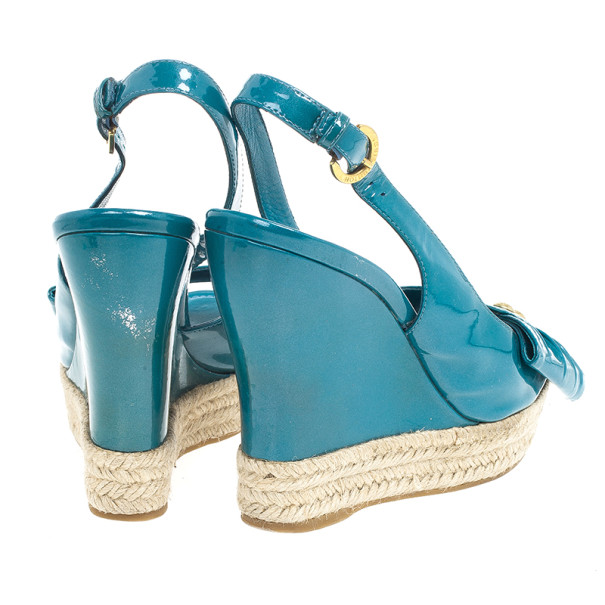 Louis Vuitton Blue Patent Espadrilles Slingback Wedges Size 37.5