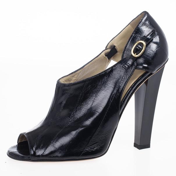 Jimmy Choo Black Patent Peep Toe Ankle Booties Size 37