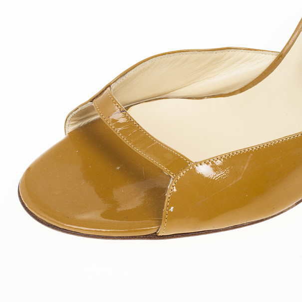Jimmy Choo Tan Patent Leather Ankle Strap Sandals Size 37