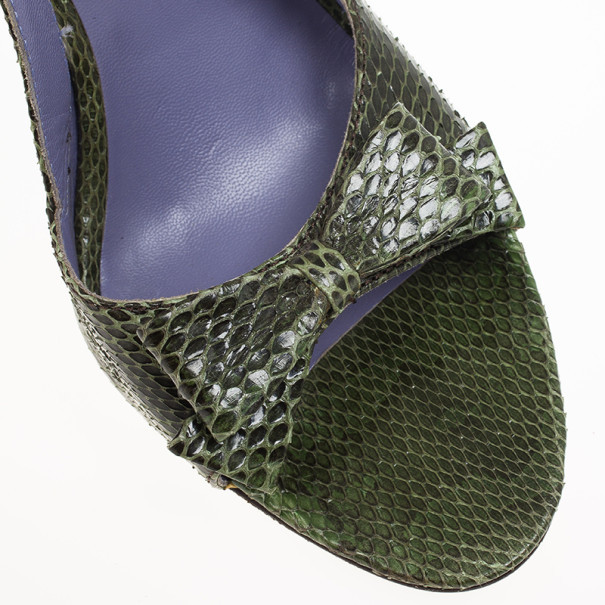 Miu Miu Green Embossed Leather Bow Slingback Sandals Size 38.5