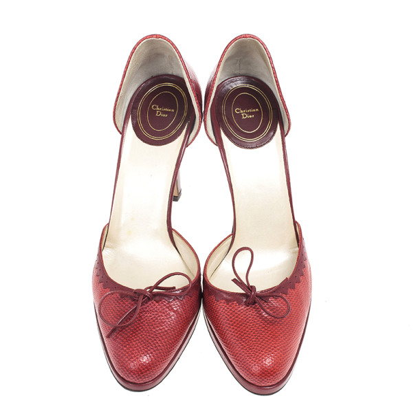 Dior Red Embossed Leather D'orsay Pumps Size 39