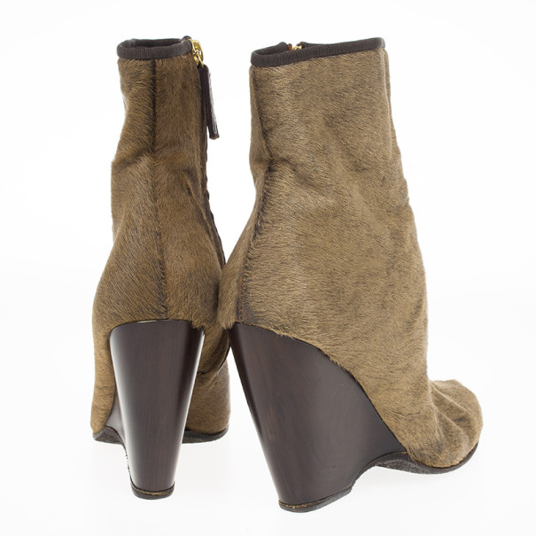 Giuseppe Zanotti Brown Pony Hair Ankle Boots Size 38