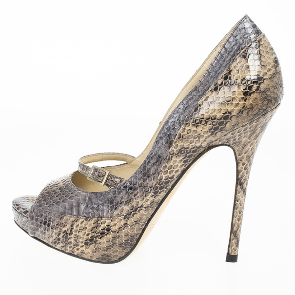 Jimmy Choo Snake Embossed Mary Jane Peep Toe Pumps Size 37.5