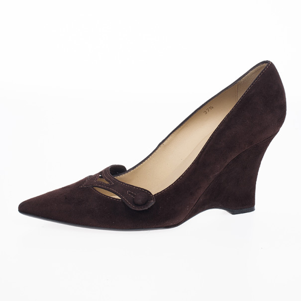 Tod's Brown Suede Pointed Toe Wedge Pumps Size 37.5