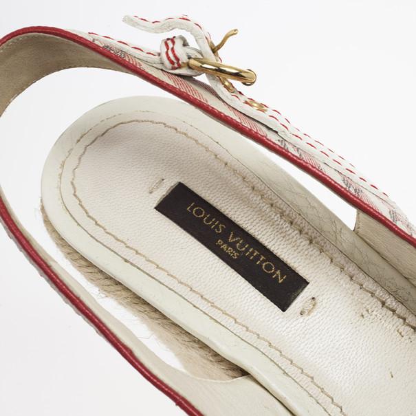 Louis Vuitton Pink Mini Lin Croisette Anemone Slingback Wedges Size 37.5