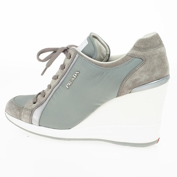 Prada Sport Grey Nylon Suede Trim Wedge Sneakers Size 38
