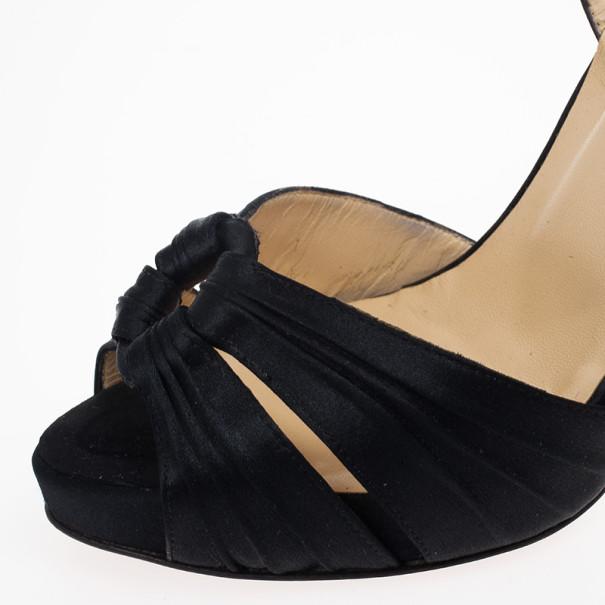Christian Louboutin Black Satin Ankle Strap Sandals Size 37.5