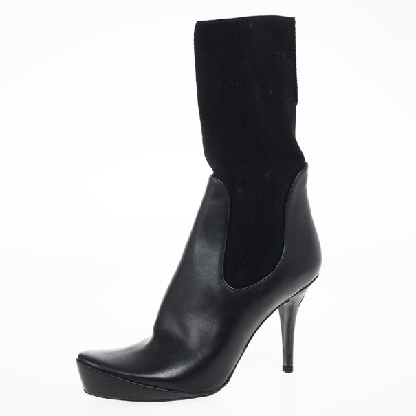 Stella McCartney Black Leather Sock Platform Ankle Boots Size 38