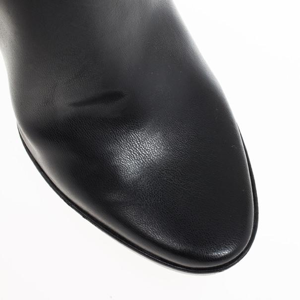 Stella McCartney Black Leather Sock Platform Ankle Boots Size 38