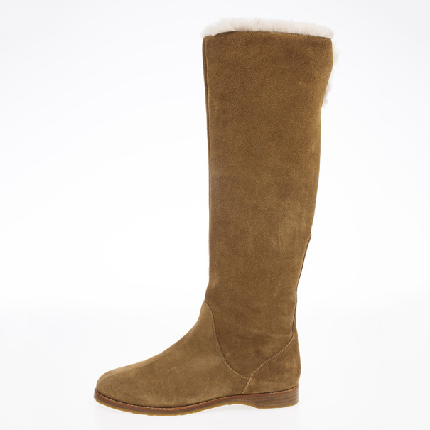 Jimmy Choo Brown Suede Yazz Knee Length Fur Lined Boots Size 38