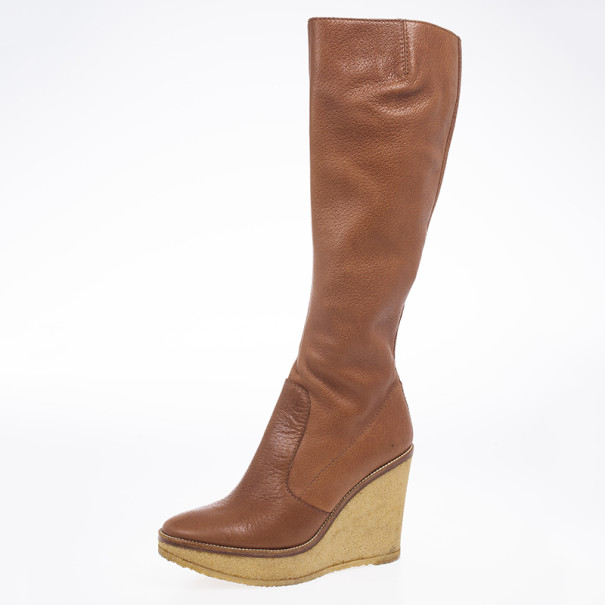 discount ebay sale cost Yves Saint Laurent Leather Knee-High Wedge Boots discounts for sale outlet prices discount deals MzrN4