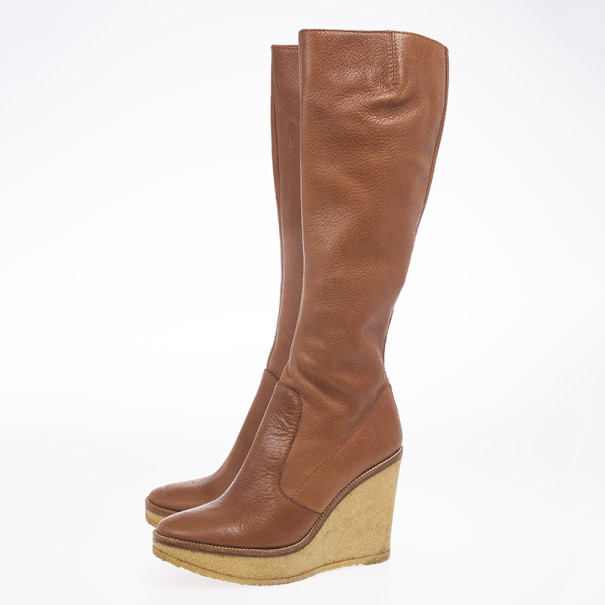Yves Saint Laurent Brown Leather Knee-High Rubber Wedge Boots Size 38