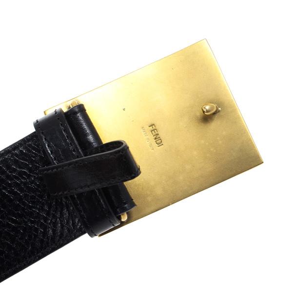 Fendi Black Leather Plaque Belt 75 CM