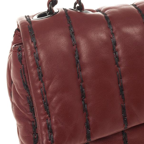 Chanel Jumbo Flap Bag Burgundy Lambskin with Pinstripe Stiching
