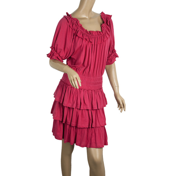 Marc by Marc Jacobs Muted Magenta Drop Waist Ruffle Hem Dress XS