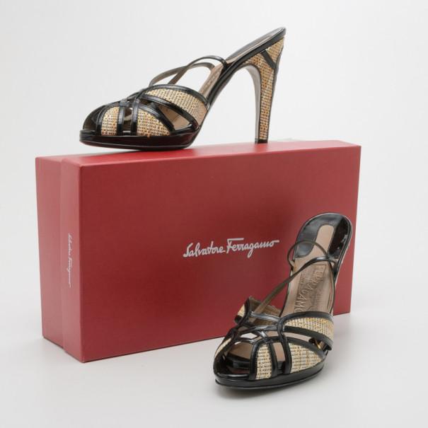 Salvatore Ferragamo Black Patent Leather and Raffia Strappy Sandals Size 39