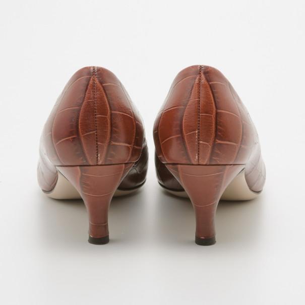 Salvatore Ferragamo Dark Peach Croc Embossed Vara Bow Pumps Size 39