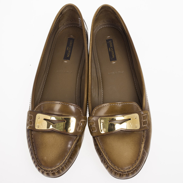 Louis Vuitton Brown Glazed Leather Cluny Loafers Size 39.5