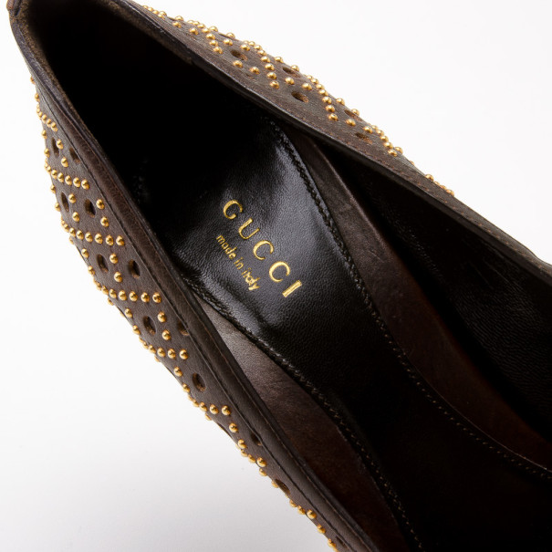Gucci Brown Leather New Hollywood Studded Horsebit Peep Toe Pumps Size 39