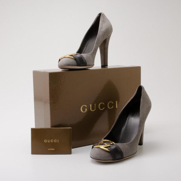 Gucci Dark Grey Suede Interlocking G Buckle Pumps Size 38.5