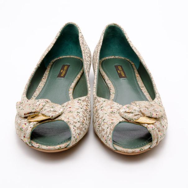 Louis Vuitton Floral Satin Catania Bow Ballet Flats Size 39.5