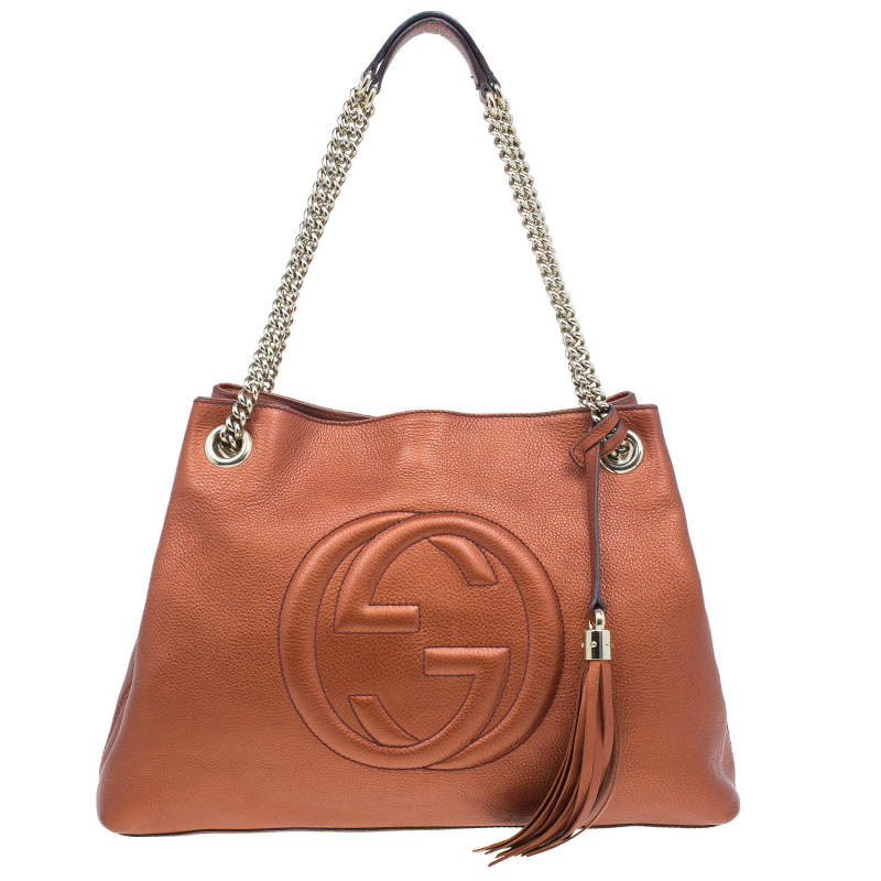Gucci Metallic Bronze Leather Medium Soho Shoulder Bag