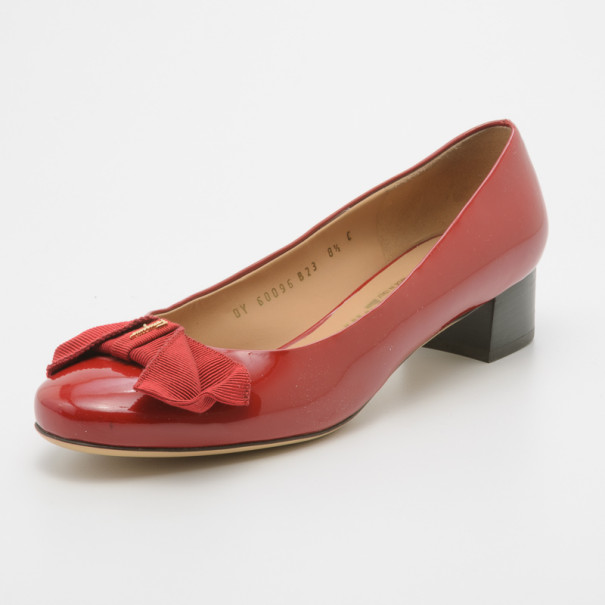 Salvatore Ferragamo Red Patent Bessy Block Heel Pumps Size 39