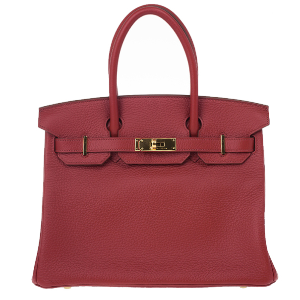 Hermes Geranium Taurillon Clemence Leather and Gold Hardware Birkin 30 CM