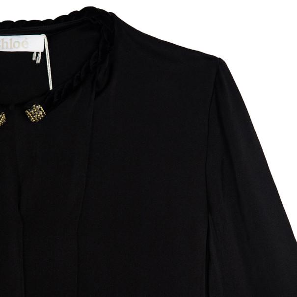 Chloe Velvet Embellished Collar Silk Shirt S