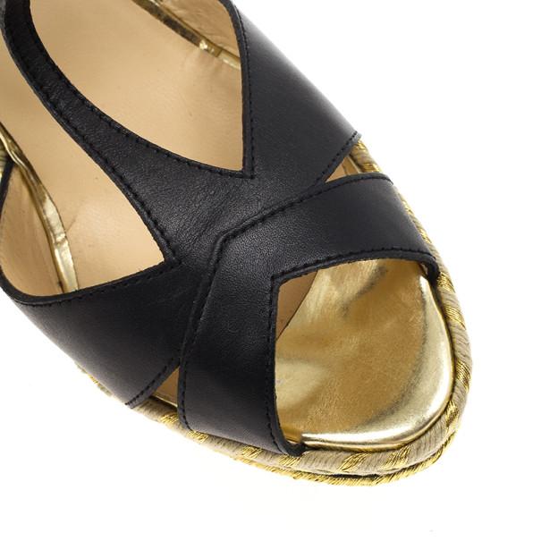 Christian Louboutin Black Leather T Strap Trotolita Wedges Size 39