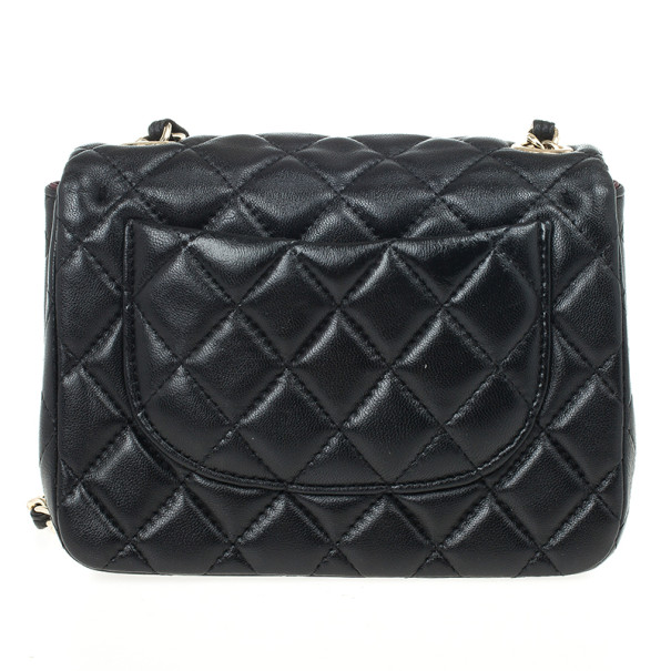 Chanel Black Quilted Leather Mini Flap Classic Bag