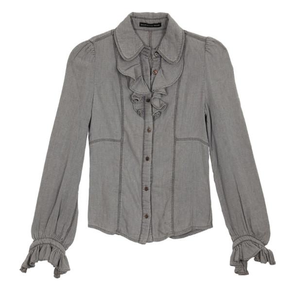 Balenciaga Denim Ruffle Shirt S